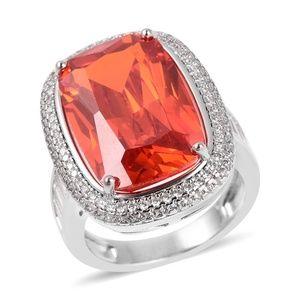 Jewelry - Simulated Orange Sapphire, Simulated White Diamond